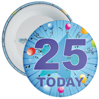 Blue 25th Birthday Badge