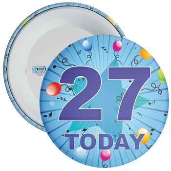Blue 27th Birthday Badge