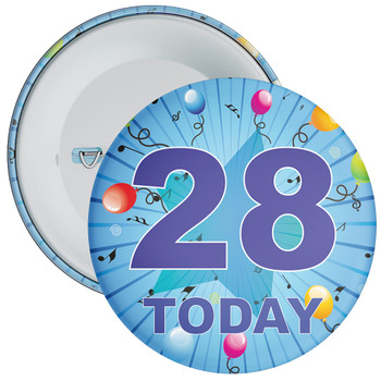 Blue 28th Birthday Badge