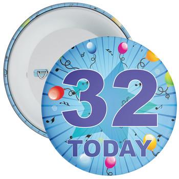 Blue 32nd Birthday Badge
