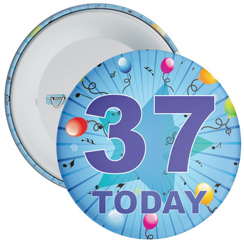 Blue 37th Birthday Badge
