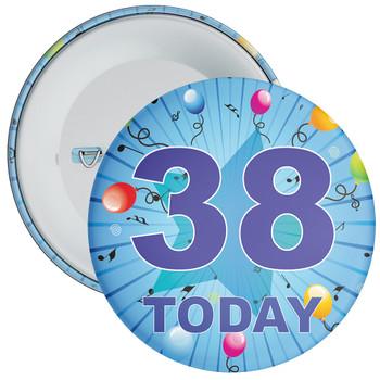 Blue 38th Birthday Badge