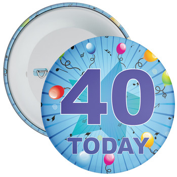 Blue 40th Birthday Badge