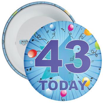 Blue 43rd Birthday Badge