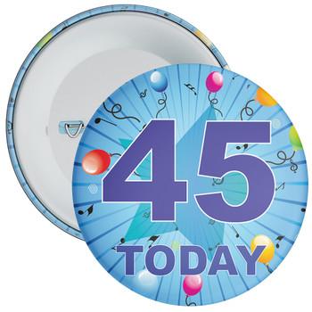 Blue 45th Birthday Badge