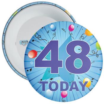 Blue 48th Birthday Badge