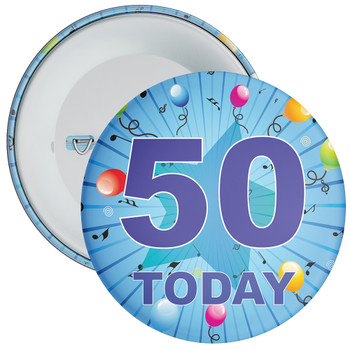 Blue 50th Birthday Badge
