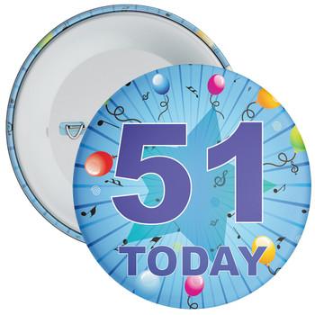Blue 51st Birthday Badge