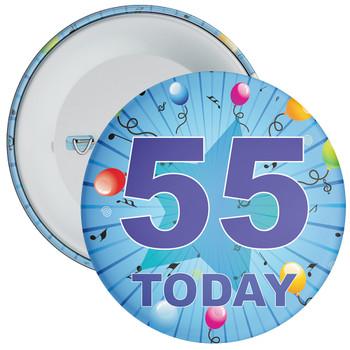Blue 55th Birthday Badge