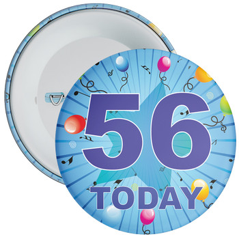Blue 56th Birthday Badge