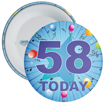 Blue 58th Birthday Badge