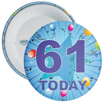 Blue 61st  Birthday Badge