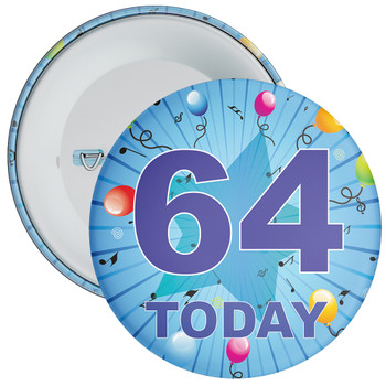 Blue 64th Birthday Badge