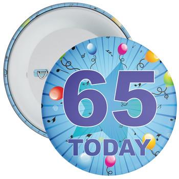 Blue 65th Birthday Badge