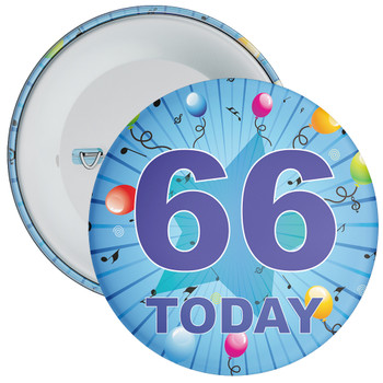 Blue 66th Birthday Badge