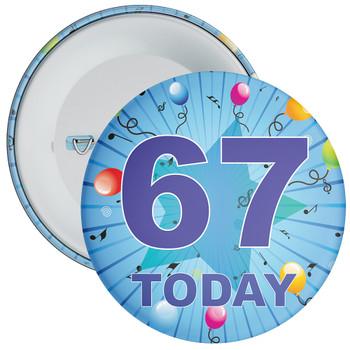 Blue 67th Birthday Badge