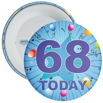 Blue 68th Birthday Badge