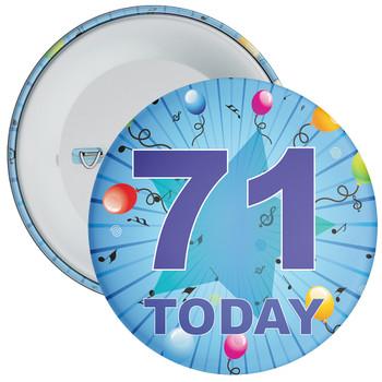 Blue 71st Birthday Badge
