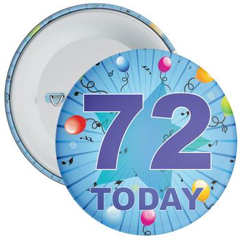 Blue 72nd Birthday Badge