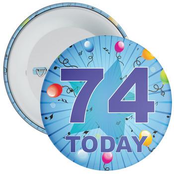 Blue 74th Birthday Badge