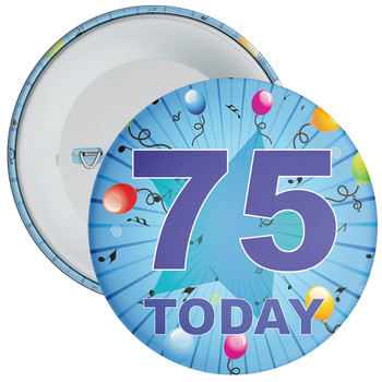 Blue 75th Birthday Badge