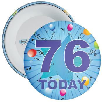 Blue 76th Birthday Badge