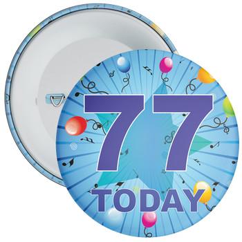 Blue 77th Birthday Badge