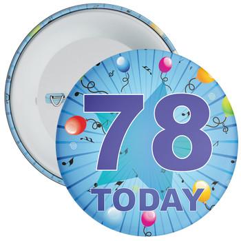 Blue 78th Birthday Badge