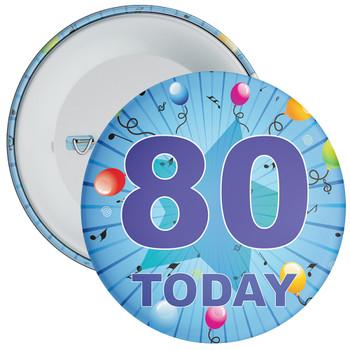 Blue 80th Birthday Badge