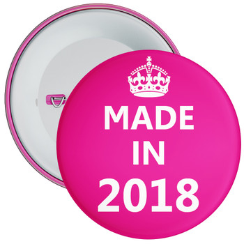 Pink Made in 2018 Birthday Badge