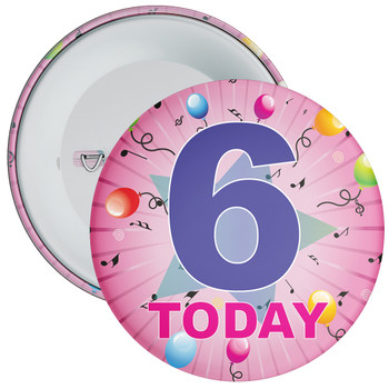 6th Birthday Badge Pink