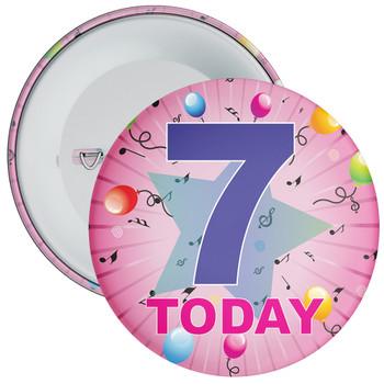 7th Birthday Badge Pink