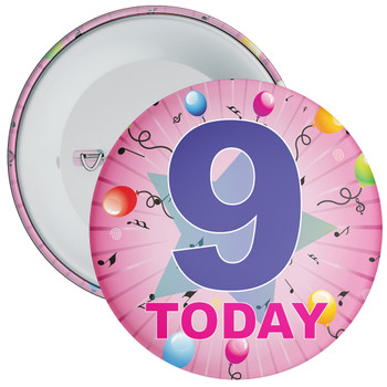 9th Birthday Badge Pink