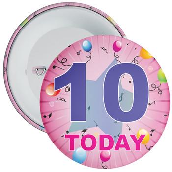10th Birthday Badge Pink