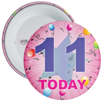 11th Birthday Badge Pink