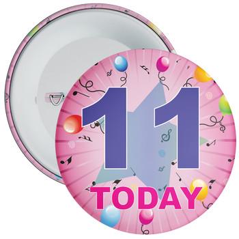 11th Birthday Badge Pink
