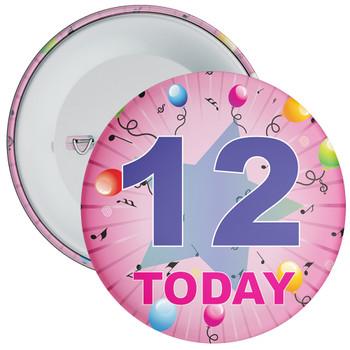 12th Birthday Badge Pink