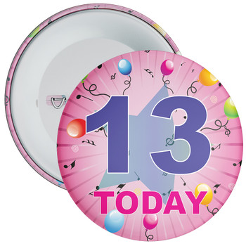 13th Birthday Badge Pink