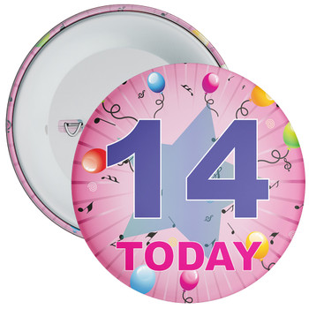 14th Birthday Badge Pink