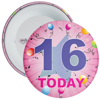 16th Birthday Badge Pink