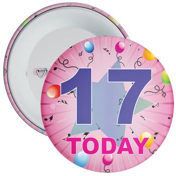 17th Birthday Badge Pink