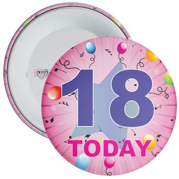 18th Birthday Badge Pink