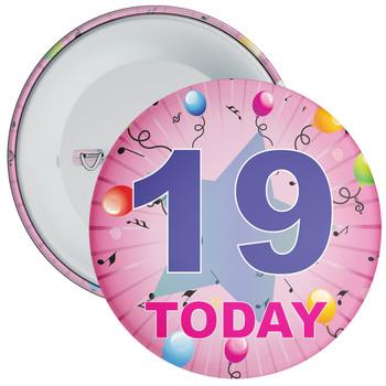 19th Birthday Badge Pink