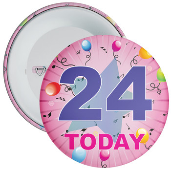 24th Birthday Badge Pink