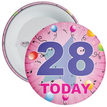 28th Birthday Badge Pink