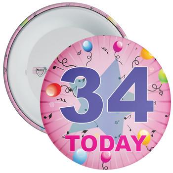 34th Birthday Badge Pink