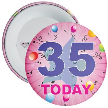 35th Birthday Badge Pink