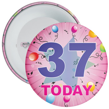 37th Birthday Badge Pink