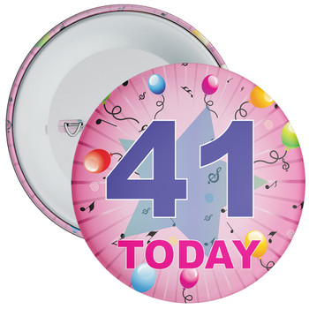 41st Birthday Badge Pink