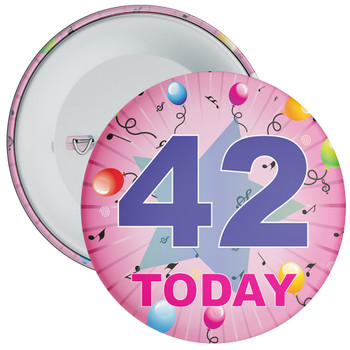 42nd Birthday Badge Pink